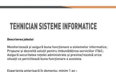 Angajam tehnician sisteme informatice