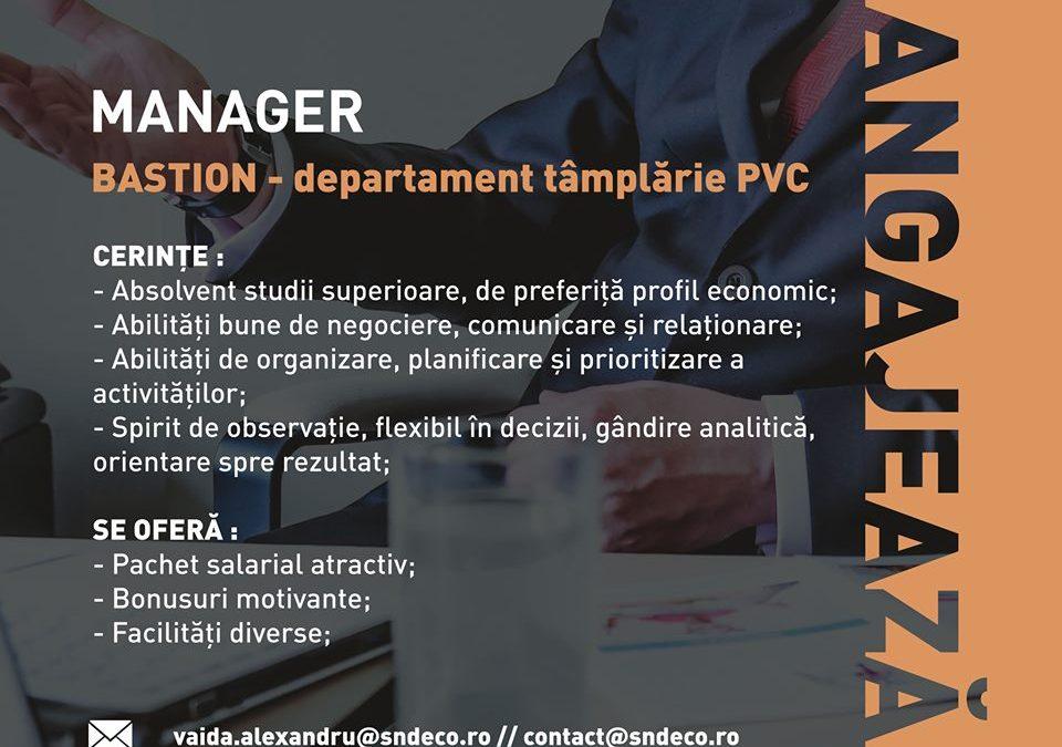 Manager departament tâmplărie PVC – BASTION