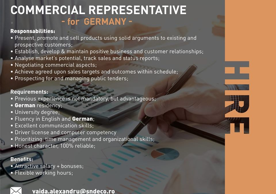 Commercial representative for Austria, Hungary, Italy, Germany, Spain